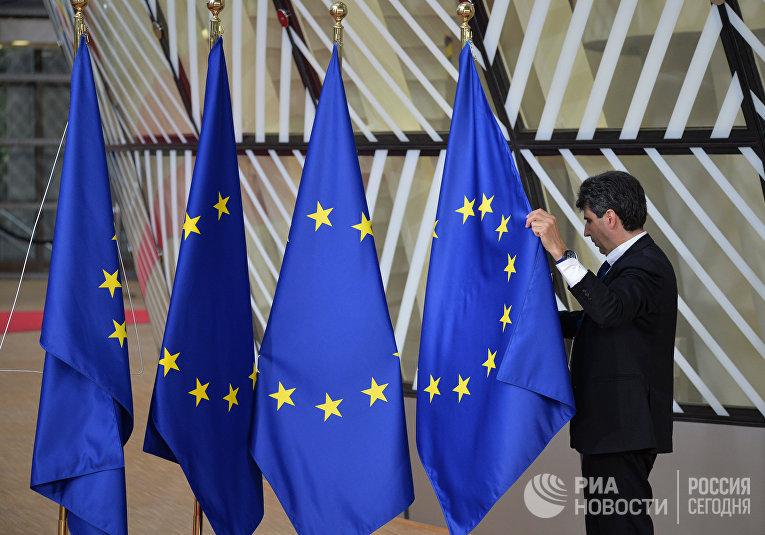 Флаги ЕС в здании Европейского Совета в Брюсселе