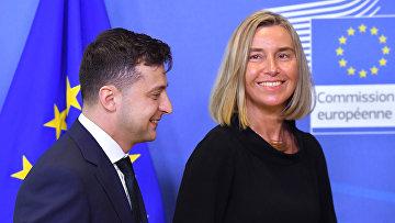 Глава МИД ЕС Федерика Могерини и президент Украины Владимир Зеленский в Брюсселе