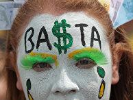 Участница акции протеста против правительства Дилмы Русеф в Бразилиа