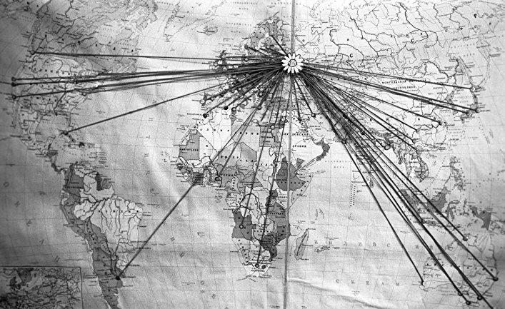 Карта с обозначением научных учреждений по всему миру