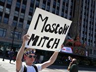 Активист Лерой Уилсон во время акции протеста в Детройте