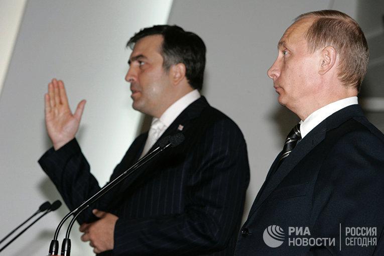 Михаил Саакашвили и Владимир Путин