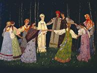 Федоскинская миниатюра с изображением девушек в павлопосадских платках