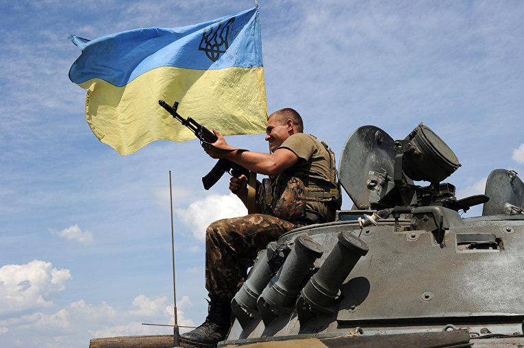 Украинский солдат бронетранспортере в 20 км к югу от Донецка