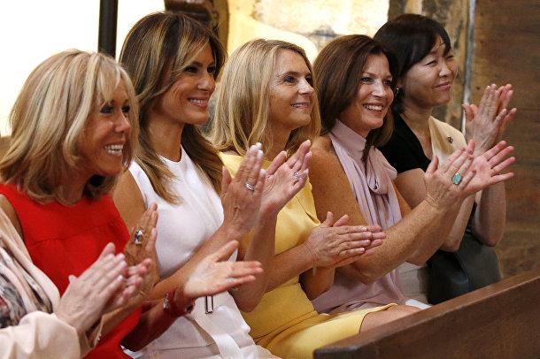 Мелания Трамп, Брижит Макрон и жены других мировых лидеров на полях саммита G7