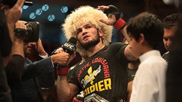 Хабиб Нурмагомедов после боя на турнире UFC 242 в Абу-Даби