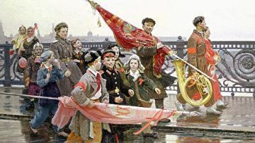 Репродукция картины «После демонстрации. Они видели Сталина» работы художника Дмитрия Константиновича Мочальского