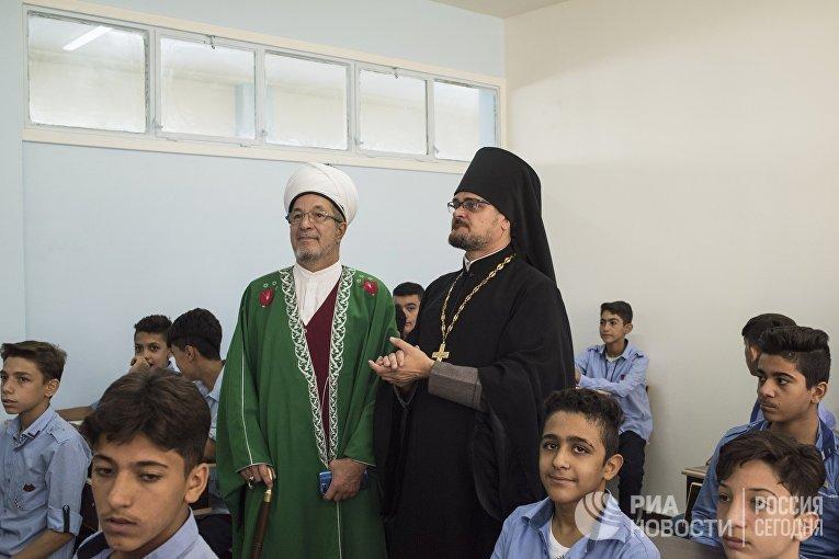 Открытие школы в Дамаске, отремонтированной на собранные в России средства