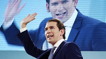 Бывший австрийский канцлер Себастьян Курц в время выступления в Вене