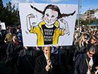Участники всемирной климатической забастовки в Стокгольме