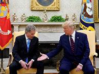 Президент США Дональд Трамп и президент Финляндии Саули Ниинисте в Белом доме в Вашингтоне
