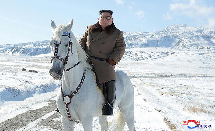 Лидер Северной Кореи Ким Чен Ын на лошади во время снегопада на горе Пэкту