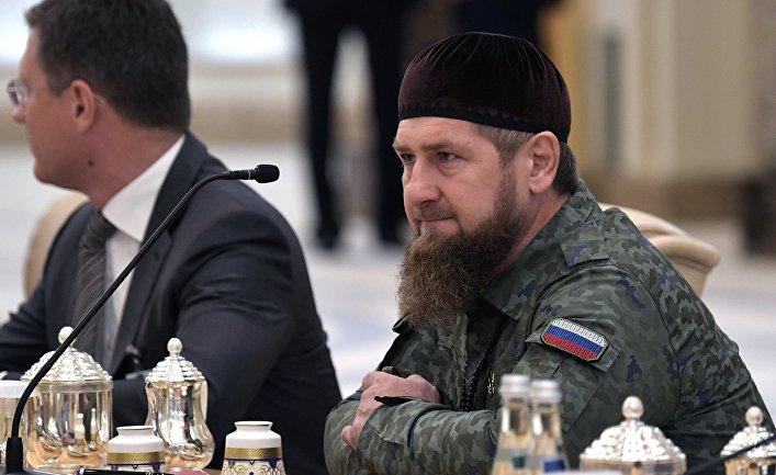 Глава Чеченской Республики Рамзан Кадыров на российско-эмиратских переговорах