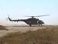 Прибытие российских вертолетов на бывшую базу США в Сирии