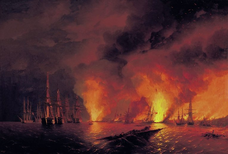 И. К. Айвазовский «Синоп. Ночь после боя 18 ноября 1853 года»