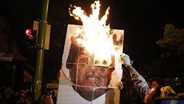 Участники аптиправительственной демонстрации в Ла-Пасе, Боливия