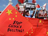 Участниик акции протеста в Маниле, Филиппины