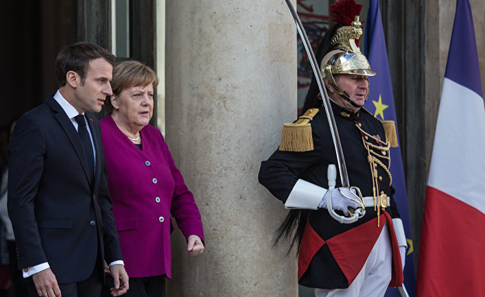 Федеральный канцлер Германии Ангела Меркель и президент Франции Эммануэль Макрон