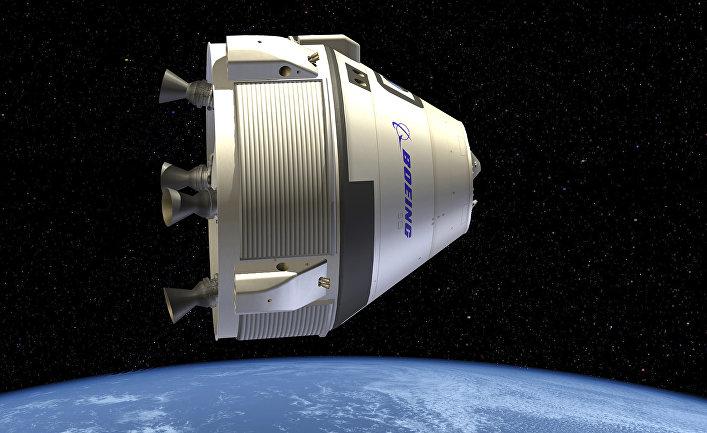Компьютерная визуализация американского транспортного космического корабля CST-100 Starliner