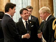 Премьер-министр Великобритании Борис Джонсон, премьер-министром Канады Джастин Трюдо и премьер-министр Италии Джузеппе Конте в Букингемском дворце в Лондоне