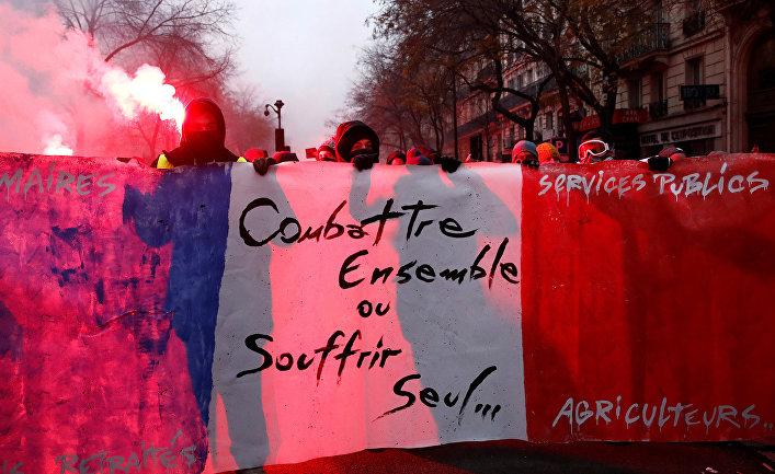 Участники забастовки в Париже, Франция