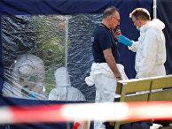 Полицейские осматривают место убийства грузина в Берлине