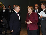 Президент РФ Владимир Путин и федеральный канцлер Германии Ангела Меркель