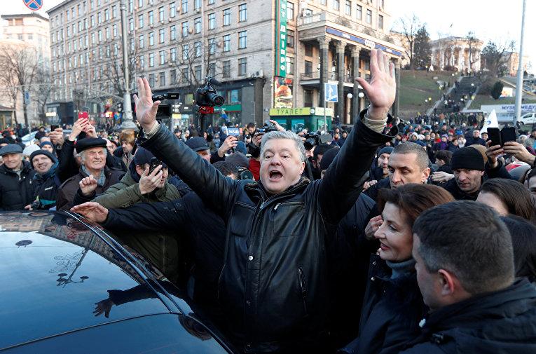 Бывший президент Украины Петр Порошенко принимает участие в митинге в Киеве в преддверии так называемого саммита «нормандского формата»