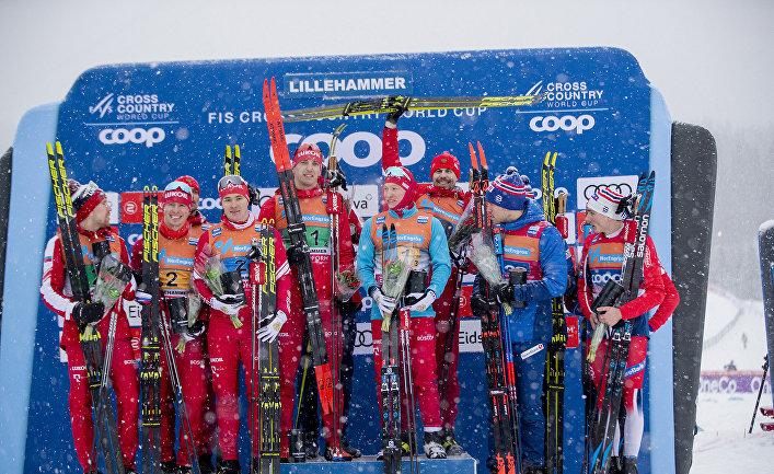 Сборные России зангяли первое и второе место в эстафете в Лиллехаммере