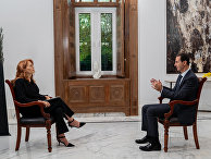 Президент Сирии Башар Асад во время интервью с Моникой Маггиони