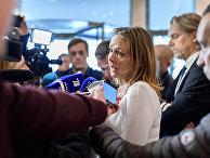 Вице-президент ВАДА Линда Хофстад Хеллеланн общается с прессой в Лозанне, Швейцария