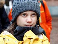 Грета Тунберг во время демонстрации против изменений климата