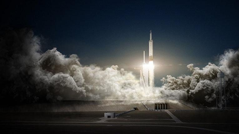 Иллюстрация старта ракеты Falcon Heavy компании SpaceX
