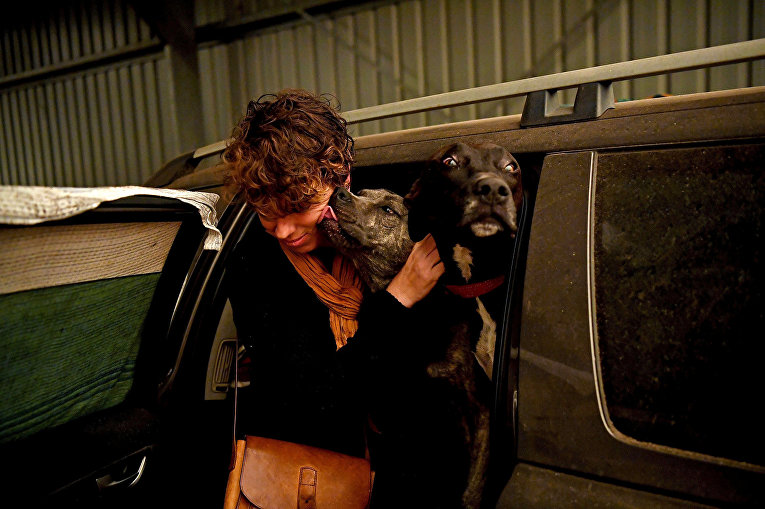 Женщина с собаками в эвакуационном центре в Кобарго, Австралия
