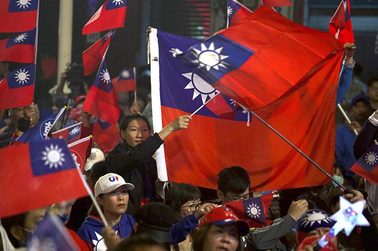 Сторонники националистической партии в Гаосюне, Тайвань