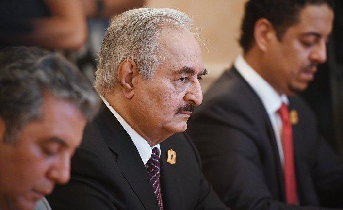 Встреча главы МИД РФ С. Лаврова с командующим Ливийской национальной армией Х. Хафтаром