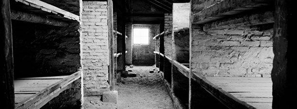 Спальные места в бараках для заключенных в Освенциме