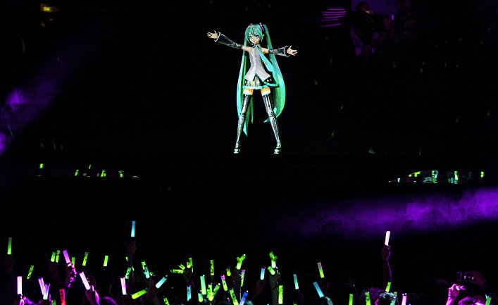 Выступление японской виртуальной певицы Хацунэ Мику в Париже