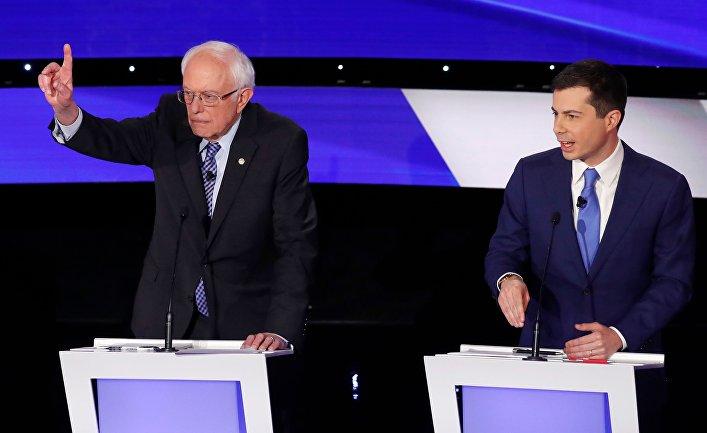 Кандидаты в президенты США сенатор Берни Сандерс и мэр Саут-Бенда Пит Буттиджич