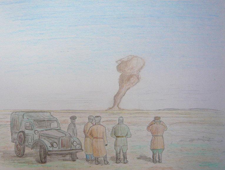 Изображение ядерного испытания в Семипалатинске