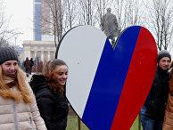 Митинг в Донецке, посвященный годовщине воссоединения Крыма с Россией
