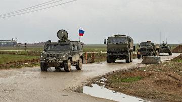 Российский военный конвой в сирийской провинции Хасаке