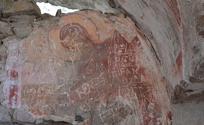 Изображение Богородицы на внутренней стене Балатларской Церкви в Синопе, Турция