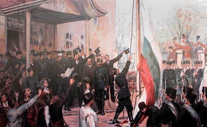 «Объявление Воссоединения 6 сентября 1885 г. в Пловдиве», цветной рисунок, изданный в массовом тираже в Вене художником Францем Яшке