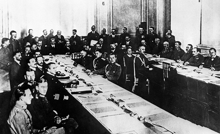 Заседание мирной конференции в Брест-Литовске, 1918г.