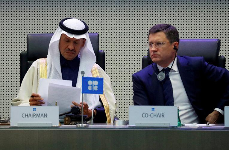 Министр энергетики Саудовской Аравии принц Абдулазиз бен Салман Аль Сауд и министр энергетики России Александр Новак