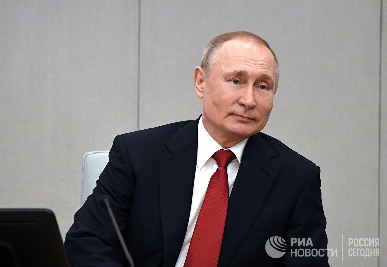 Президент РФ В. Путин принял участие в пленарном заседании Госдумы РФ