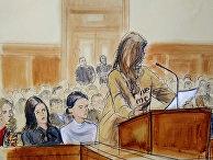 Женщины дают показания против Харви Вайнштейна, рисунок из зала суда в Нью-Йорке