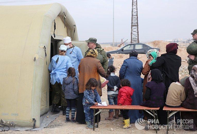 Пункт временного размещения беженцев Жибрин в Алеппо