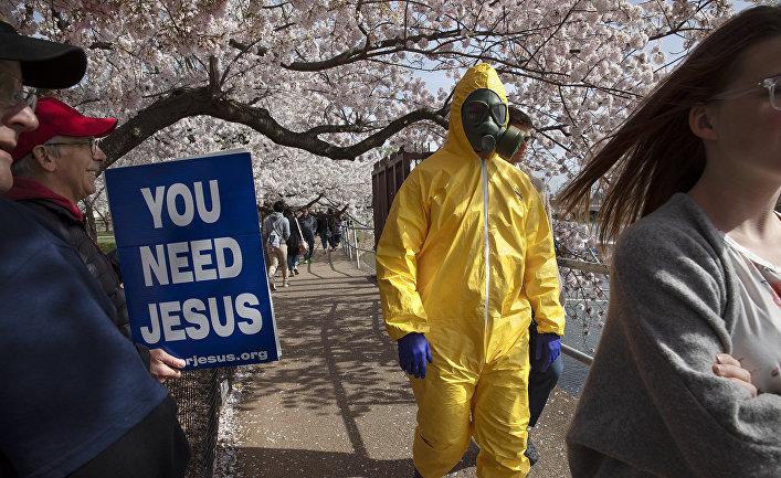 Люди в парке в Вашингтоне, США